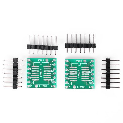 Landa Tianrui LDTR - YJ032 / B 2PCS Dual-side Adapter BoardOther Accessories<br>Landa Tianrui LDTR - YJ032 / B 2PCS Dual-side Adapter Board<br><br>Brand: Landa Tianrui<br>Color: Green<br>Mainly Compatible with: Arduino<br>Material: PCB + Alloy<br>Model: LDTR - YJ032 / B<br>Package Contents: 2 x SOP14 to DIP14 Adapter Board, 4 x 7-pin Gold-plated Pin Header ( 2.54mm pitch )<br>Package Size(L x W x H): 8.00 x 6.00 x 1.20 cm / 3.15 x 2.36 x 0.47 inches<br>Package weight: 0.0180 kg<br>Product Size(L x W x H): 1.80 x 1.80 x 0.20 cm / 0.71 x 0.71 x 0.08 inches<br>Product weight: 0.0050 kg