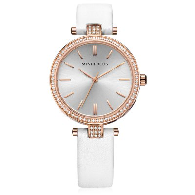 MINIFOCUS MF0039L Rhinestone Quartz Watch for WomenWomens Watches<br>MINIFOCUS MF0039L Rhinestone Quartz Watch for Women<br><br>Band material: Genuine Leather<br>Band size: 20.00 x 1.60 cm / 7.87 x 1.50 x 0.62 inches<br>Case material: Alloy<br>Clasp type: Pin buckle<br>Dial size: 3.80 x 3.80 x 0.80 cm / 1.50 x 1.50 x 0.31 inches<br>Display type: Analog<br>Movement type: Quartz watch<br>Package Contents: 1 x MINIFOCUS Women Quartz Watch<br>Package size (L x W x H): 22.00 x 5.00 x 1.80 cm / 8.66 x 1.97 x 0.71 inches<br>Package weight: 0.1150 kg<br>Product size (L x W x H): 20.00 x 3.80 x 0.80 cm / 7.87 x 1.5 x 0.31 inches<br>Product weight: 0.0850 kg<br>Shape of the dial: Round<br>Watch mirror: Mineral glass<br>Watch style: Fashion<br>Watches categories: Female table<br>Water resistance : Life water resistant<br>Wearable length: 16.00 - 18.00 cm / 6.29 - 7.08 inches