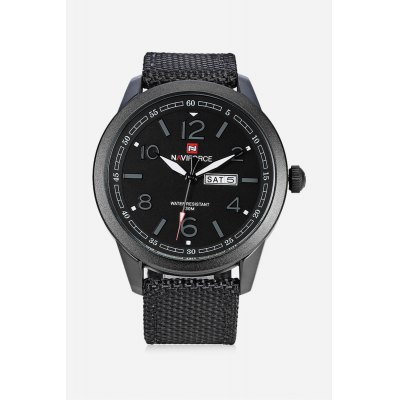 NAVIFORCE NF9101M Men Quartz WatchMens Watches<br>NAVIFORCE NF9101M Men Quartz Watch<br><br>Band material: Canvas + Leather<br>Band size: 25.5 x 2.20 cm / 10.83 x 0.87 inches<br>Brand: Naviforce<br>Case material: Alloy<br>Clasp type: Pin buckle<br>Dial size: 4.8 x 4.8 x 1cm / 1.89 x 1.89 x 0.39 inches<br>Display type: Analog<br>Movement type: Quartz watch<br>Package Contents: 1 x NAVIFORCE Men Quartz Watch<br>Package size (L x W x H): 26.50 x 5.80 x 2.00 cm / 10.43 x 2.28 x 0.79 inches<br>Package weight: 0.0990 kg<br>Product size (L x W x H): 25.50 x 4.80 x 1.00 cm / 10.04 x 1.89 x 0.39 inches<br>Product weight: 0.0680 kg<br>Shape of the dial: Round<br>Special features: Date, Luminous, Day<br>Watch color: Black, Black and Grey, Green, Light Khaki, Brown<br>Watch mirror: Mineral glass<br>Watch style: Business<br>Watches categories: Male table<br>Water resistance : 30 meters<br>Wearable length: 18.00 - 23.00cm / 7.09 - 9.06 inches