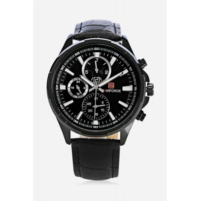 NAVIFORCE NF9089M Men Quartz WatchMens Watches<br>NAVIFORCE NF9089M Men Quartz Watch<br><br>Band material: Genuine Leather<br>Band size: 26 x 2cm / 10.24 x 0.79 inches<br>Brand: Naviforce<br>Case material: Alloy<br>Clasp type: Pin buckle<br>Dial size: 4.5 x 4.5 x 1.2cm / 1.77 x 1.77 x 0.47 inches<br>Display type: Analog<br>Movement type: Quartz watch<br>Package Contents: 1 x NAVIFORCE Men Quartz Watch<br>Package size (L x W x H): 27.00 x 5.50 x 2.20 cm / 10.63 x 2.17 x 0.87 inches<br>Package weight: 0.1150 kg<br>Product size (L x W x H): 26.00 x 4.50 x 1.20 cm / 10.24 x 1.77 x 0.47 inches<br>Product weight: 0.0840 kg<br>Shape of the dial: Round<br>Special features: Date, Luminous, Day<br>Watch color: White and Black, White, Black and Golden, Black, White and Brown<br>Watch mirror: Mineral glass<br>Watch style: Business<br>Watches categories: Male table<br>Water resistance : 30 meters<br>Wearable length: 18.00 - 23.00cm / 7.09 - 9.06 inches
