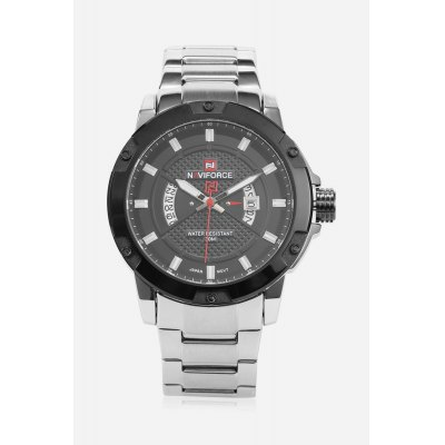 NAVIFORCE NF9085M Men Quartz WatchMens Watches<br>NAVIFORCE NF9085M Men Quartz Watch<br><br>Band material: Stainless Steel<br>Band size: 22 x 2.20 cm / 8.66 x 0.87 inches<br>Brand: Naviforce<br>Case material: Alloy<br>Clasp type: Folding clasp with safety<br>Dial size: 5.0 x 5.0 x 1.2cm / 1.97 x 1.97 x 0.47 inches<br>Display type: Analog<br>Movement type: Quartz watch<br>Package Contents: 1 x NAVIFORCE Men Quartz Watch<br>Package size (L x W x H): 12.00 x 6.00 x 2.20 cm / 4.72 x 2.36 x 0.87 inches<br>Package weight: 0.1940 kg<br>Product size (L x W x H): 22.00 x 5.00 x 1.20 cm / 8.66 x 1.97 x 0.47 inches<br>Product weight: 0.1630 kg<br>Shape of the dial: Round<br>Special features: Luminous, Date<br>Watch color: Black and Golden, Coffee, Black, White and Black, White<br>Watch mirror: Mineral glass<br>Watch style: Business<br>Watches categories: Male table<br>Water resistance : 30 meters