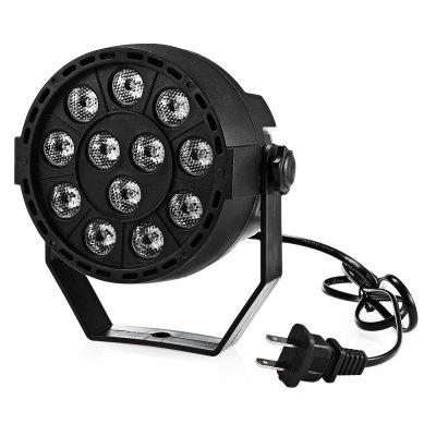 18W 12 LED Sound Activated Strobe Light AC110 - 220VStage Lighting<br>18W 12 LED Sound Activated Strobe Light AC110 - 220V<br><br>Beam Distance (m): 12 - 18 meters<br>Body Color: Black<br>Control Mode: Auto Mode, DMX512, Voice-activated<br>Function: For party, For Decoration<br>Laser Color: RGB Light<br>Material: ABS<br>Output Power (W): 18W<br>Package Contents: 1 x LED Par Light with US Plug, 2 x Double-sided Adhesive, 1 x Accessory<br>Package size (L x W x H): 14.00 x 13.00 x 13.00 cm / 5.51 x 5.12 x 5.12 inches<br>Package weight: 0.4250 kg<br>Plug Type: US plug<br>Product Size(L x W x H): 11.00 x 11.00 x 9.00 cm / 4.33 x 4.33 x 3.54 inches<br>Product weight: 0.3200 kg<br>Shape: Module Shaped<br>Total Emitters: 12<br>Type: RGB Stage Light, DJ and Disco Light<br>Voltage Type: AC 110 - 220V