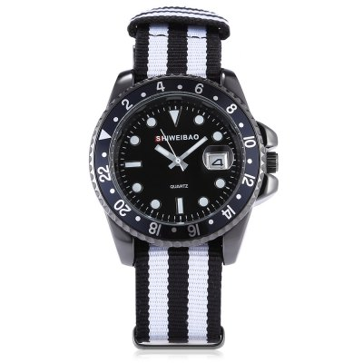 SHI WEI BAO A2088 Men Quartz WatchMens Watches<br>SHI WEI BAO A2088 Men Quartz Watch<br><br>Band material: Canvas<br>Band size: 26.40 x 2.00 cm / 10.39 x 0.78 inches<br>Brand: Shiweibao<br>Case material: Alloy<br>Clasp type: Pin buckle<br>Dial size: 4.06 x 4.06 x 1.14 cm / 1.60 x 1.60 x 0.45 inches<br>Display type: Analog<br>Movement type: Quartz watch<br>Package Contents: 1 x SHI WEI BAO Watch, 1 x Box<br>Package size (L x W x H): 11.50 x 9.00 x 8.00 cm / 4.53 x 3.54 x 3.15 inches<br>Package weight: 0.1500 kg<br>Product size (L x W x H): 26.40 x 4.06 x 1.14 cm / 10.39 x 1.6 x 0.45 inches<br>Product weight: 0.0620 kg<br>Shape of the dial: Round<br>Watch style: Casual<br>Watches categories: Male table<br>Wearable length: 15.00 - 23.00 cm / 5.90 - 9.05 inches