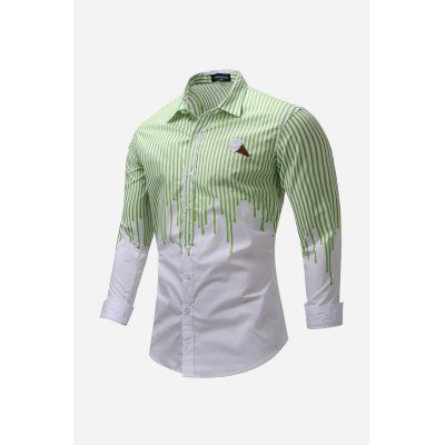 Pure Cotton Striped Men Shirt with Long Sleeve