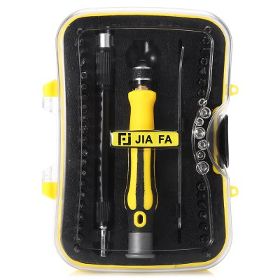 JIAFA 6093A 45 in 1 Driver Bit Kit Disassemble ToolsOther Tools<br>JIAFA 6093A 45 in 1 Driver Bit Kit Disassemble Tools<br><br>Brand: JIAFA<br>Color: Black,Yellow<br>Compatible: Mobilephone, Desktop<br>Hand Tools: Screwdriver<br>Material: Metal, Plastic<br>Model: 6093A<br>Package Contents: 1 x 6093A Driver Bit Kit<br>Package size (L x W x H): 15.50 x 10.00 x 4.00 cm / 6.1 x 3.94 x 1.57 inches<br>Package weight: 0.3070 kg<br>Product weight: 0.2930 kg<br>Special Functions : Disassemble Electronic Devices<br>Type: Hand tools