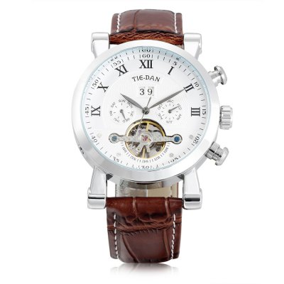 TIEDAN 16005 Men Auto Mechanical WatchMens Watches<br>TIEDAN 16005 Men Auto Mechanical Watch<br><br>Band material: Genuine Leather<br>Band size: 24.00 x 2.10 cm / 9.44 x 0.82 inches<br>Case material: Alloy<br>Clasp type: Pin buckle<br>Dial size: 4.30 x 4.30 x 1.40 cm / 1.69 x 1.69 x 0.55 inches<br>Display type: Analog<br>Movement type: Automatic mechanical watch<br>Package Contents: 1 x TIEDAN Men Auto Mechanical Watch<br>Package size (L x W x H): 28.00 x 8.00 x 3.50 cm / 11.02 x 3.15 x 1.38 inches<br>Package weight: 0.1600 kg<br>Product size (L x W x H): 24.00 x 4.30 x 1.40 cm / 9.45 x 1.69 x 0.55 inches<br>Product weight: 0.1000 kg<br>Shape of the dial: Round<br>Watch style: Casual<br>Watches categories: Male table<br>Wearable length: 17.50 - 22.00 cm / 6.88 - 8.66 inches