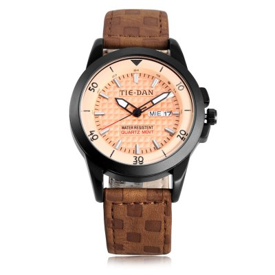TIEDAN 16003G Men Quartz WatchMens Watches<br>TIEDAN 16003G Men Quartz Watch<br><br>Band material: Leather<br>Band size: 19.00 x 2.00 cm / 7.48 x 0.78 inches<br>Brand: TIEDAN<br>Case material: Alloy<br>Clasp type: Pin buckle<br>Dial size: 4.00 x 4.00 x 1.00 cm / 1.57 x 1.57 x 0.39 inches<br>Display type: Analog<br>Movement type: Quartz watch<br>Package Contents: 1 x TIEDAN Quartz Watch, 1 x Watch Box<br>Package size (L x W x H): 28.00 x 8.00 x 3.50 cm / 11.02 x 3.15 x 1.38 inches<br>Package weight: 0.1100 kg<br>Product size (L x W x H): 19.00 x 4.00 x 1.00 cm / 7.48 x 1.57 x 0.39 inches<br>Product weight: 0.0500 kg<br>Shape of the dial: Round<br>Special features: Luminous<br>Watch mirror: Mineral glass<br>Watch style: Casual<br>Watches categories: Male table<br>Water resistance : Life water resistant<br>Wearable length: 17.50 - 22.00 cm / 6.88 - 8.66 inches