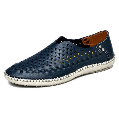Hollow Out Breathable Leather Shoes for Men