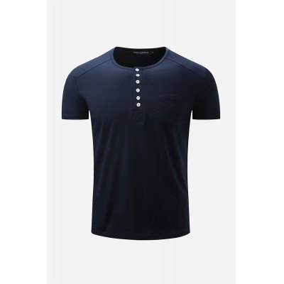 Button Neck T Shirt for Men