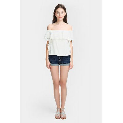 Refreshing Off The Shoulder Pure Blouse Ruffles Top
