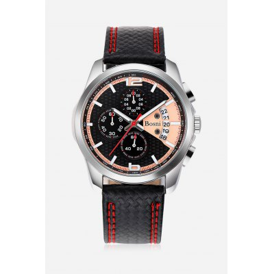 BOSNI CQ8008 Men Quartz Watch Working Sub-dial Date WristwatchMens Watches<br>BOSNI CQ8008 Men Quartz Watch Working Sub-dial Date Wristwatch<br><br>Band material: Leather<br>Band size: 25.00 x 2.30 cm / 9.84 x 0.90 inches<br>Brand: BOSNI<br>Case material: Alloy<br>Clasp type: Pin buckle<br>Dial size: 5.00 x 5.00 x 0.70 cm / 1.97 x 1.97 x 0.28 inches<br>Display type: Analog<br>Movement type: Quartz watch<br>Package Contents: 1 x BOSNI CQ8008 Men Quartz Watch<br>Package size (L x W x H): 26.00 x 6.00 x 2.00 cm / 10.24 x 2.36 x 0.79 inches<br>Package weight: 0.1300 kg<br>Product size (L x W x H): 25.00 x 5.00 x 0.70 cm / 9.84 x 1.97 x 0.28 inches<br>Product weight: 0.1000 kg<br>Shape of the dial: Round<br>Watch style: Casual<br>Watches categories: Male table<br>Wearable length: 18.00 - 23.00 cm / 7.08 - 9.05 inches