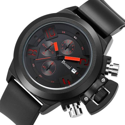 BOSNI GQ8006 Men Quartz WatchLED Watches<br>BOSNI GQ8006 Men Quartz Watch<br><br>Band material: Rubber<br>Band size: 24.50 x 2.50 cm / 9.65 x 0.84 inches<br>Brand: BOSNI<br>Case material: Alloy<br>Clasp type: Pin buckle<br>Dial size: 6.10 x 6.10 x 1.40 cm / 2.40 x 2.40 x 0.55 inches<br>Display type: Analog<br>Movement type: Quartz watch<br>Package Contents: 1 x BOSNI Quartz Watch<br>Package size (L x W x H): 25.50 x 6.10 x 2.00 cm / 10.04 x 2.4 x 0.79 inches<br>Package weight: 0.1560 kg<br>Product size (L x W x H): 24.50 x 6.10 x 1.40 cm / 9.65 x 2.4 x 0.55 inches<br>Product weight: 0.1200 kg<br>Shape of the dial: Round<br>Watch mirror: Mineral glass<br>Watch style: Fashion<br>Watches categories: Male table<br>Water resistance : Life water resistant<br>Wearable length: 17.00 - 22.00 cm / 6.69 - 8.66 inches