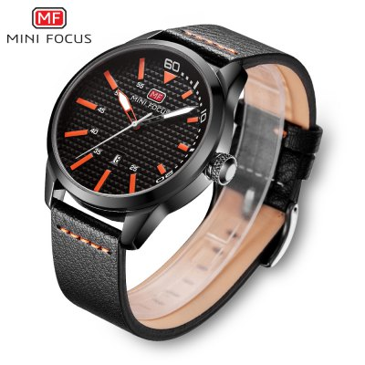 MINIFOCUS MF0021G Quartz Watch for MenMens Watches<br>MINIFOCUS MF0021G Quartz Watch for Men<br><br>Band material: Leather<br>Band size: 24.50 x 2.20 cm / 9.65 x 0.86 inches<br>Brand: MINI FOCUS<br>Case material: ABS<br>Clasp type: Pin buckle<br>Dial size: 4.50 x 4.50 x 1.20 cm / 1.77 x 1.77 x 0.47 inches<br>Display type: Analog<br>Movement type: Quartz watch<br>Package Contents: 1 x MINIFOCUS Male Quartz Watch<br>Package size (L x W x H): 26.00 x 5.50 x 3.00 cm / 10.24 x 2.17 x 1.18 inches<br>Package weight: 0.0930 kg<br>Product size (L x W x H): 24.50 x 4.50 x 1.20 cm / 9.65 x 1.77 x 0.47 inches<br>Product weight: 0.0630 kg<br>Shape of the dial: Round<br>Watch style: Fashion<br>Watches categories: Male table<br>Water resistance : Life water resistant<br>Wearable length: 16.00 - 20.00 cm / 6.29 - 7.87 inches