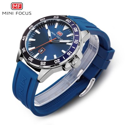 MINIFOCUS MF0020G Quartz Watch for MenMens Watches<br>MINIFOCUS MF0020G Quartz Watch for Men<br><br>Band material: Silicone<br>Band size: 24.00 x 2.00 cm / 9.45 x 0.78 inches<br>Brand: MINI FOCUS<br>Case material: Alloy<br>Clasp type: Pin buckle<br>Dial size: 4.50 x 4.50 x 1.00 cm / 1.77 x 1.77 x 0.39 inches<br>Display type: Analog<br>Movement type: Quartz watch<br>Package Contents: 1 x MINIFOCUS Male Quartz Watch<br>Package size (L x W x H): 26.00 x 5.50 x 3.00 cm / 10.24 x 2.17 x 1.18 inches<br>Package weight: 0.1120 kg<br>Product size (L x W x H): 24.00 x 4.50 x 1.00 cm / 9.45 x 1.77 x 0.39 inches<br>Product weight: 0.0820 kg<br>Shape of the dial: Round<br>Watch style: Casual<br>Watches categories: Male table<br>Wearable length: 15.00 - 20.00 cm / 5.90 - 7.87 inches