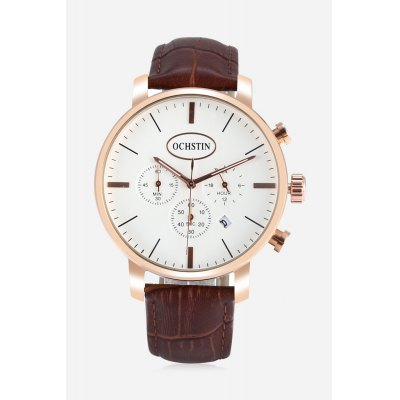 OCHSTIN 6066G Men Quartz WatchMens Watches<br>OCHSTIN 6066G Men Quartz Watch<br><br>Band material: Genuine Leather<br>Band size: 25.80 x 1.8cm / 10.16 x 0.71 inches<br>Brand: OCHSTIN<br>Case material: Alloy<br>Clasp type: Pin buckle<br>Dial size: 4.4 x 4.4 x 0.8cm / 1.73 x 1.73 x 0.31 inches<br>Display type: Analog<br>Movement type: Quartz watch<br>Package Contents: 1 x OCHSTIN 6066G Men Watch<br>Package size (L x W x H): 16.00 x 8.00 x 4.50 cm / 6.3 x 3.15 x 1.77 inches<br>Package weight: 0.1570 kg<br>Product size (L x W x H): 25.80 x 4.40 x 0.80 cm / 10.16 x 1.73 x 0.31 inches<br>Product weight: 0.0570 kg<br>Shape of the dial: Round<br>Special features: Working sub-dial, Date<br>Watch color: Black and Grey, Brown, Royal, Black, Black and Blue, Brown and Golden<br>Watch mirror: Mineral glass<br>Watch style: Business, Fashion<br>Watches categories: Male table<br>Water resistance : 30 meters<br>Wearable length: 19.00 - 23.00 cm / 7.48 - 9.06 inches