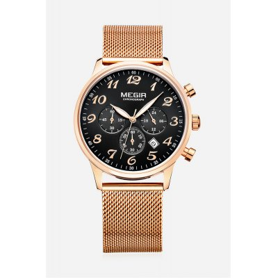 MEGIR 2022 Casual Men Quartz WatchMens Watches<br>MEGIR 2022 Casual Men Quartz Watch<br><br>Band material: Stainless Steel<br>Band size: 23 x 2.2 cm / 9.06 x 0.87 inches<br>Brand: MEGIR<br>Case material: Alloy<br>Clasp type: Hook buckle<br>Dial size: 4.3 x 4.3 x 1.05 cm / 1.69 x 1.69 x 0.41 inches<br>Display type: Analog<br>Movement type: Quartz watch<br>Package Contents: 1 x MEGIR 2022 Casual Men Quartz Watch, 1 x Box<br>Package size (L x W x H): 11.80 x 7.20 x 6.80 cm / 4.65 x 2.83 x 2.68 inches<br>Package weight: 0.218 kg<br>Product size (L x W x H): 23.00 x 4.30 x 1.05 cm / 9.06 x 1.69 x 0.41 inches<br>Product weight: 0.090 kg<br>Shape of the dial: Round<br>Special features: Date, Working sub-dial<br>Watch color: Silver, Rose Gold + Black, Rose Gold + White<br>Watch style: Casual<br>Watches categories: Male table<br>Water resistance : Life water resistant