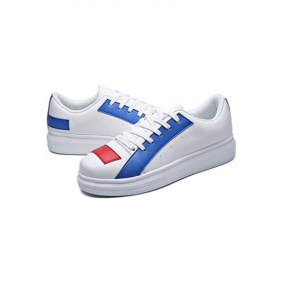 Fashion PU Color Block Lace-up Casual Shoes for MenCasual Shoes<br>Fashion PU Color Block Lace-up Casual Shoes for Men<br><br>Closure Type: Lace-Up<br>Features: Anti-slip, Breathable<br>Package Contents: 1 x Pair of Shoes<br>Package size: 32.00 x 22.00 x 12.00 cm / 12.6 x 8.66 x 4.72 inches<br>Package weight: 0.8400 kg<br>Product weight: 0.6800 kg<br>Season: Spring, Autumn<br>Sole Material: Rubber
