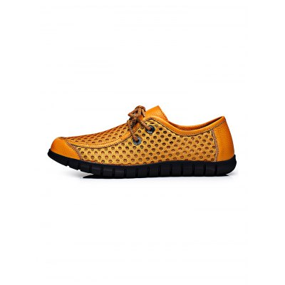 Breathable Leather Lace-up Men Casual ShoesCasual Shoes<br>Breathable Leather Lace-up Men Casual Shoes<br><br>Contents: 1 x Pair of Shoes<br>Materials: Leather, Mesh<br>Occasion: Casual, Daily<br>Package Size ( L x W x H ): 34.00 x 23.00 x 12.00 cm / 13.39 x 9.06 x 4.72 inches<br>Package Weights: 0.78<br>Seasons: Autumn,Spring,Summer<br>Style: Leisure, Fashion, Comfortable<br>Type: Casual Shoes