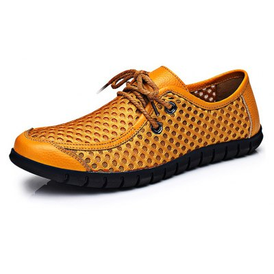 Breathable Leather Lace-up Men Casual Shoes