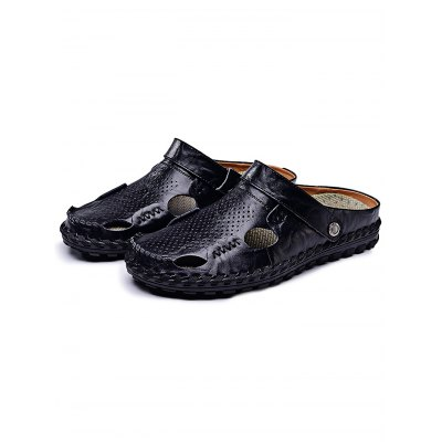 Fashion Genuine Leather Men Casual SlippersMens Slippers<br>Fashion Genuine Leather Men Casual Slippers<br><br>Contents: 1 x Pair of Shoes<br>Materials: Genuine Leather, Rubber<br>Occasion: Casual<br>Package Size ( L x W x H ): 34.00 x 23.00 x 12.00 cm / 13.39 x 9.06 x 4.72 inches<br>Package Weights: 0.78<br>Seasons: Summer<br>Style: Leisure, Fashion, Comfortable<br>Type: Slippers