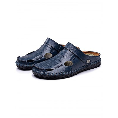 Fashion GenuineLeather Men Casual SlippersMens Slippers<br>Fashion GenuineLeather Men Casual Slippers<br><br>Contents: 1 x Pair of Shoes<br>Materials: Genuine Leather, Rubber<br>Occasion: Casual<br>Package Size ( L x W x H ): 34.00 x 23.00 x 12.00 cm / 13.39 x 9.06 x 4.72 inches<br>Package Weights: 0.78<br>Seasons: Summer<br>Style: Leisure, Fashion, Comfortable<br>Type: Slippers