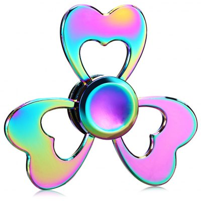 Colorful Heart Shape Tri-leaf Zinc Alloy Fidget Spinner