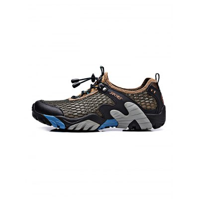 Breathable Mesh Men Outdoor Walking SneakersHiking Shoes<br>Breathable Mesh Men Outdoor Walking Sneakers<br><br>Closure Type: Lace-Up<br>Features: Anti-slip, Shock-absorbing, Breathable<br>Highlights: Breathable<br>Package Contents: 1 x Pair of Shoes<br>Package size: 33.00 x 22.00 x 11.00 cm / 12.99 x 8.66 x 4.33 inches<br>Package weight: 1.0530 kg<br>Product weight: 0.9000 kg<br>Season: Summer, Spring, Autumn<br>Sole Material: Rubber