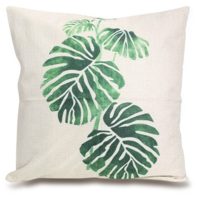 Green Leaf Pattern Square Throw Pillow Case