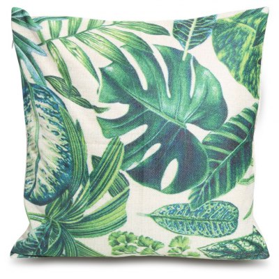 Green Leaf Printed Square Throw Pillow Case