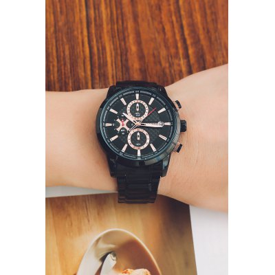 OCHSTIN 6085G Men Quartz WatchMens Watches<br>OCHSTIN 6085G Men Quartz Watch<br><br>Band material: Stainless Steel<br>Band size: 22 x 2.2cm / 8.66 x 0.87 inches<br>Brand: OCHSTIN<br>Case material: Alloy<br>Clasp type: Sheet folding clasp<br>Dial size: 4.2 x 4.2 x 1.2cm / 1.38 x 1.38 x 0.47 inches<br>Display type: Analog<br>Movement type: Quartz watch<br>Package Contents: 1 x Watch, 1 x Box<br>Package size (L x W x H): 16.00 x 8.00 x 4.50 cm / 6.3 x 3.15 x 1.77 inches<br>Package weight: 0.2000 kg<br>Product size (L x W x H): 22.00 x 4.20 x 1.20 cm / 8.66 x 1.65 x 0.47 inches<br>Product weight: 0.1000 kg<br>Shape of the dial: Round<br>Special features: Stopwatch, Date, Luminous, Working sub-dial<br>Watch color: Black and Golden, Silver and Black, White and Rose Gold<br>Watch mirror: Mineral glass<br>Watch style: Business, Fashion<br>Watches categories: Male table