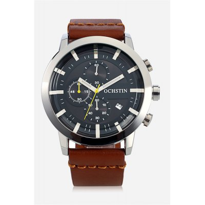 OCHSTIN 6046G Quartz Watch for MenMens Watches<br>OCHSTIN 6046G Quartz Watch for Men<br><br>Band material: Genuine Leather<br>Band size: 26.50 x 2.40 cm / 10.43 x 0.94 inches<br>Brand: OCHSTIN<br>Case material: Alloy<br>Clasp type: Pin buckle<br>Dial size: 4.50 x 4.50 x 1.30 cm / 1.77 x 1.77 x 0.51 inches<br>Display type: Analog<br>Movement type: Quartz watch<br>Package Contents: 1 x OCHSTIN 6046G Men Quartz Watch, 1 x Box<br>Package size (L x W x H): 16.00 x 8.00 x 4.50 cm / 6.3 x 3.15 x 1.77 inches<br>Package weight: 0.2000 kg<br>Product size (L x W x H): 26.50 x 4.50 x 1.30 cm / 10.43 x 1.77 x 0.51 inches<br>Product weight: 0.1000 kg<br>Shape of the dial: Round<br>Watch color: Blue and White, Black, Blue, Brown + Black<br>Watch mirror: Mineral glass<br>Watch style: Casual<br>Watches categories: Male table<br>Wearable length: 20.00 - 23.00 cm / 7.87 - 9.05 inches