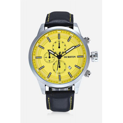 OCHSTIN 6049G Men Working Sub-dial Quartz WatchMens Watches<br>OCHSTIN 6049G Men Working Sub-dial Quartz Watch<br><br>Band material: Leather<br>Band size: 26.40 x 2.00 cm / 10.39 x 0.78 inches<br>Brand: OCHSTIN<br>Case material: Alloy<br>Clasp type: Pin buckle<br>Dial size: 4.40 x 4.40 x 1.10 cm / 1.73 x 1.73 x 0.43 inches<br>Display type: Analog<br>Movement type: Quartz watch<br>Package Contents: 1 x OCHSTIN 6049G Male Quartz Watch<br>Package size (L x W x H): 16.00 x 8.00 x 4.50 cm / 6.3 x 3.15 x 1.77 inches<br>Package weight: 0.1740 kg<br>Product size (L x W x H): 26.40 x 4.40 x 1.10 cm / 10.39 x 1.73 x 0.43 inches<br>Product weight: 0.0740 kg<br>Shape of the dial: Round<br>Watch color: Red, Yellow, Orange, White + Black, Black + Silver + White<br>Watch style: Casual<br>Watches categories: Men<br>Wearable length: 20.00 - 25.00 cm / 7.87 - 9.84 inches