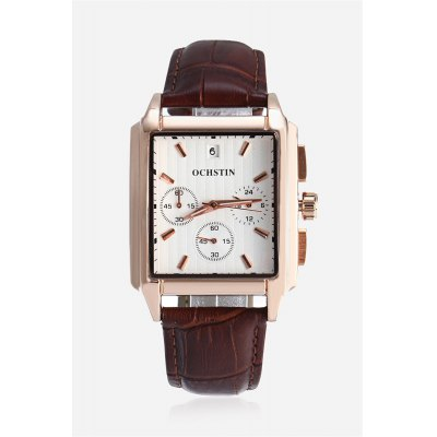 OCHSTIN 6063G Men Quartz WatchMens Watches<br>OCHSTIN 6063G Men Quartz Watch<br><br>Band material: Genuine Leather<br>Band size: 25.50 x 2cm / 10.04 x 0.79 inches<br>Brand: OCHSTIN<br>Case material: Alloy<br>Clasp type: Pin buckle<br>Dial size: 3.8 x 3.8 x 1cm / 1.5 x 1.5 x 0.39 inches<br>Display type: Analog<br>Movement type: Quartz watch<br>Package Contents: 1 x OCHSTIN 6063G Men Watch<br>Package size (L x W x H): 16.00 x 8.00 x 4.50 cm / 6.3 x 3.15 x 1.77 inches<br>Package weight: 0.1700 kg<br>Product size (L x W x H): 25.50 x 3.80 x 1.00 cm / 10.04 x 1.5 x 0.39 inches<br>Product weight: 0.0700 kg<br>Shape of the dial: Square<br>Special features: Working sub-dial, Date<br>Watch color: Brown and Golden, Brown+Grey+White, Black and Golden, Silver and Black<br>Watch mirror: Mineral glass<br>Watch style: Business, Fashion<br>Watches categories: Male table<br>Water resistance : 30 meters<br>Wearable length: 19.00 - 23.00cm / 7.48 - 9.06 inches