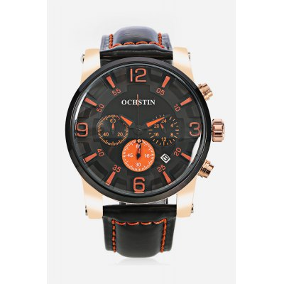 OCHSTIN 052D Men Working Sub-dial Quartz WatchMens Watches<br>OCHSTIN 052D Men Working Sub-dial Quartz Watch<br><br>Band material: Genuine Leather<br>Band size: 25.50 x 2.00 cm / 10.04 x 0.78 inches<br>Brand: OCHSTIN<br>Case material: Alloy<br>Clasp type: Pin buckle<br>Dial size: 4.10 x 4.10 x 1.00 cm / 1.61 x 1.61 x 0.39 inches<br>Display type: Analog<br>Movement type: Quartz watch<br>Package Contents: 1 x OCHSTIN 052D Men Quartz Watch<br>Package size (L x W x H): 16.00 x 8.00 x 4.50 cm / 6.3 x 3.15 x 1.77 inches<br>Package weight: 0.1770 kg<br>Product size (L x W x H): 25.50 x 4.10 x 1.00 cm / 10.04 x 1.61 x 0.39 inches<br>Product weight: 0.0770 kg<br>Shape of the dial: Round<br>Watch color: Black and White, Brown, Blue and Black, Black and Orange<br>Watch mirror: Mineral glass<br>Watch style: Casual<br>Watches categories: Male table<br>Water resistance : Life water resistant<br>Wearable length: 20.00 - 23.00 cm / 7.87 - 9.05 inches