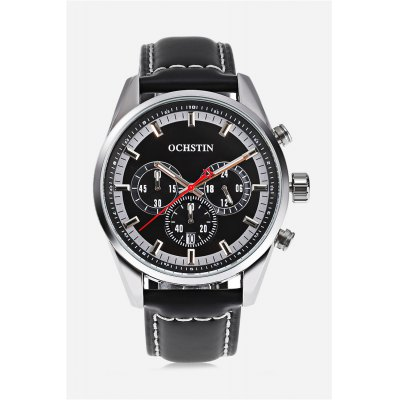 OCHSTIN 6046G Men Quartz WatchMens Watches<br>OCHSTIN 6046G Men Quartz Watch<br><br>Band material: Leather<br>Band size: 26.00 x 2.20 cm / 0.87 inches<br>Brand: OCHSTIN<br>Case material: Stainless Steel<br>Clasp type: Pin buckle<br>Dial size: 4.30 x 4.30 x 1.20 cm / 1.69 x 1.69 x 0.47 inches<br>Display type: Analog<br>Movement type: Quartz watch<br>Package Contents: 1 x OCHSTIN 6046G Men Quartz Watch<br>Package size (L x W x H): 27.00 x 5.30 x 2.20 cm / 10.63 x 2.09 x 0.87 inches<br>Package weight: 0.1110 kg<br>Product size (L x W x H): 26.00 x 4.30 x 1.20 cm / 10.24 x 1.69 x 0.47 inches<br>Product weight: 0.0760 kg<br>Shape of the dial: Round<br>Special features: Decorative sub-dial, Date<br>Watch color: Rose gold and white, silver and white, silver and black, silver and blue<br>Watch style: Fashion, Casual<br>Watches categories: Male table