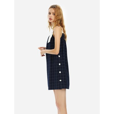 ZANSTYLE Women Sleeveless Plaid Pattern DressMini Dresses<br>ZANSTYLE Women Sleeveless Plaid Pattern Dress<br>