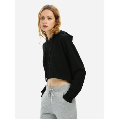 ZANSTYLE Women Drawstring Crop Fleece Hoodie Black SweatshirtSweatshirts &amp; Hoodies<br>ZANSTYLE Women Drawstring Crop Fleece Hoodie Black Sweatshirt<br>