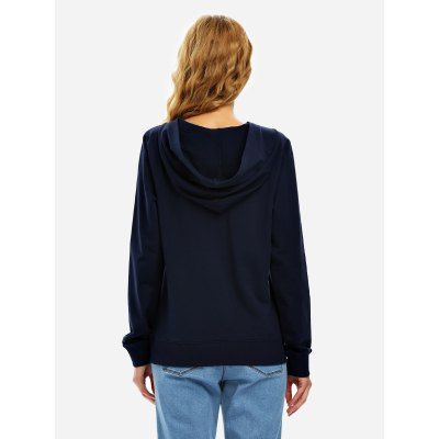 ZANSTYLE Women Lace Up Navy Blue Fleece HoodieSweatshirts &amp; Hoodies<br>ZANSTYLE Women Lace Up Navy Blue Fleece Hoodie<br>