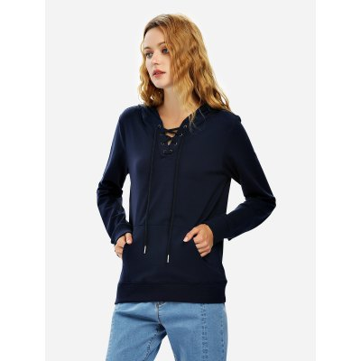 ZANSTYLE Women Lace Up Navy Blue Fleece Hoodie