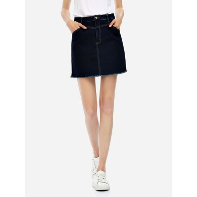 ZANSTYLE Women Cotton Blue A Line Skirt