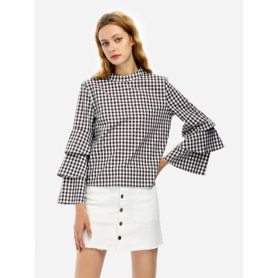 Bell Sleeve Plaid Blouse Shirt