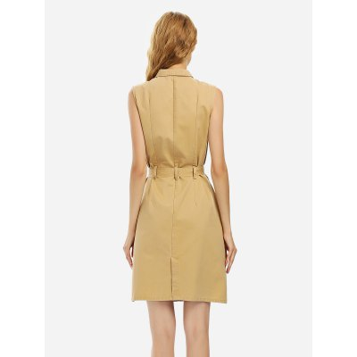 ZANSTYLE Women Khaki Sleeveless Shirt DressSleeveless Dresses<br>ZANSTYLE Women Khaki Sleeveless Shirt Dress<br>