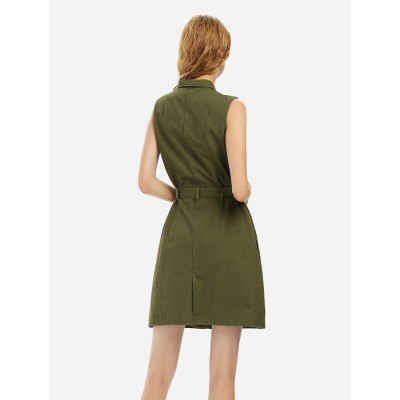 ZANSTYLE Women Army Green Sleeveless Shirt DressSleeveless Dresses<br>ZANSTYLE Women Army Green Sleeveless Shirt Dress<br>