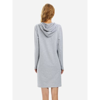 ZANSTYLE Women Drawstring Fleece Dress Hoodie Heather Gray SweatshirtSweatshirts &amp; Hoodies<br>ZANSTYLE Women Drawstring Fleece Dress Hoodie Heather Gray Sweatshirt<br>