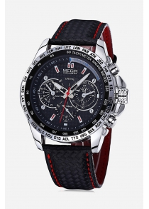 Megir 1010 Men Quartz Watch with Genuine Leather Band