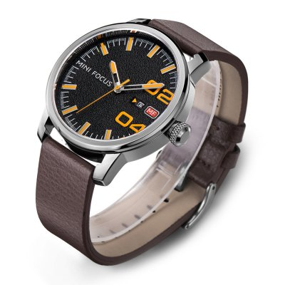 MINIFOCUS MF0022G Quartz Watch for MenMens Watches<br>MINIFOCUS MF0022G Quartz Watch for Men<br><br>Band material: Genuine Leather<br>Band size: 24.50 x 2.20 cm / 9.65 x 0.86 inches<br>Brand: MINI FOCUS<br>Case material: Alloy<br>Clasp type: Pin buckle<br>Dial size: 4.60 x 4.60 x 1.10 cm / 1.81 x 1.81 x 0.43 inches<br>Display type: Analog<br>Movement type: Quartz watch<br>Package Contents: 1 x MINIFOCUS Male Quartz Watch<br>Package size (L x W x H): 26.00 x 6.00 x 3.00 cm / 10.24 x 2.36 x 1.18 inches<br>Package weight: 0.0950 kg<br>Product size (L x W x H): 24.50 x 4.60 x 1.10 cm / 9.65 x 1.81 x 0.43 inches<br>Product weight: 0.0650 kg<br>Shape of the dial: Round<br>Watch style: Fashion<br>Watches categories: Male table<br>Water resistance : Life water resistant<br>Wearable length: 16.00 - 20.00 cm / 6.29 - 7.87 inches