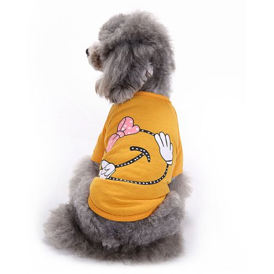 Bowknot Cotton Pet Dog Clothes Tee Costume