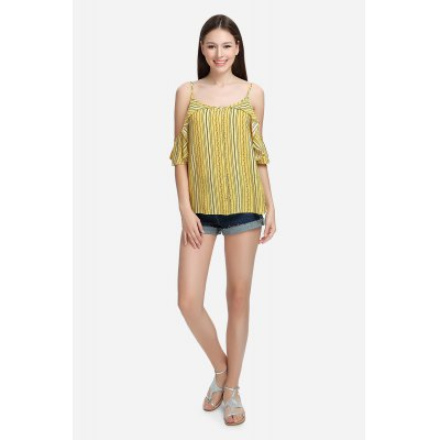 Pinstripe Cold Shoulder Blouse Spaghetti Strap Summer Top with Floral Print