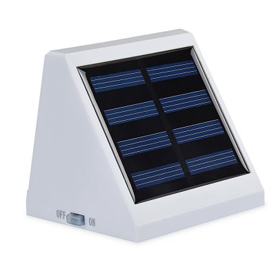 Solar Powered Light Controlled 4 LEDs Wall LampOutdoor Lights<br>Solar Powered Light Controlled 4 LEDs Wall Lamp<br><br>Battery Capacity: AA 1.2V 900mA Ni-MH battery<br>Battery Voltage: 1.2V<br>Charging Time: 8 hours<br>Features: Light Control<br>Light Type: Outdoor Light,Solar Light<br>Luminous Flux: 24LM<br>Material: ABS<br>Optional Light Color: White<br>Package Contents: 1 x Solar Powered Wall Light, 1 x English Manual, 1 x Pack of Accessories<br>Package size (L x W x H): 10.00 x 10.00 x 8.00 cm / 3.94 x 3.94 x 3.15 inches<br>Package weight: 0.1400 kg<br>Powered Source: Solar and Battery<br>Product size (L x W x H): 9.80 x 8.00 x 7.50 cm / 3.86 x 3.15 x 2.95 inches<br>Product weight: 0.1100 kg<br>Sensing Angle / Distance: 5m<br>Solar Panel : poly-silicon 2V / 130mAh 0.26W<br>Total LED: 4<br>Working Time: 8 hours