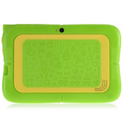 BDF E86 Kids Tablet PCTablet PCs<br>BDF E86 Kids Tablet PC<br><br>3.5mm Headphone Jack: Yes<br>AC adapter: 100-240V 5V 2.5A<br>Additional Features: Alarm, Bluetooth, Browser, Calculator, Calendar, Gravity Sensing System, HDMI, MP4, OTG, WiFi<br>Back camera: 0.3MP<br>Battery Capacity: 3.7V / 2500mAh<br>Bluetooth: 4.0<br>Brand: BDF<br>Camera type: Dual cameras (one front one back)<br>Core: Quad Core, 1.2GHz<br>CPU: A33<br>CPU Brand: All Winner<br>DC Jack: Yes<br>English Manual : 1<br>External Memory: TF card up to 32GB (not included)<br>Front camera: 0.3MP<br>G-sensor: Supported<br>Google Play Store: Supported<br>Languages support : Supports multi-language as screenshots<br>MIC: Supported<br>Micro USB Slot: Yes<br>MS Office format: PPT, Excel, Word<br>Music format: OGG, WAV, MP3, AAC<br>OS: Android 4.4<br>Package size: 23.50 x 16.00 x 6.00 cm / 9.25 x 6.3 x 2.36 inches<br>Package weight: 0.6320 kg<br>Picture format: PNG, JPEG, GIF, BMP<br>Power Adapter: 1<br>Product size: 19.10 x 12.60 x 1.42 cm / 7.52 x 4.96 x 0.56 inches<br>Product weight: 0.2820 kg<br>RAM: 512MB<br>ROM: 4GB<br>Screen resolution: 1024 x 600 (WSVGA)<br>Screen size: 7 inch<br>Screen type: Capacitive (5-Point)<br>Skype: Supported<br>Speaker: Supported<br>Support Network: WiFi<br>Tablet PC: 1<br>TF card slot: Yes<br>Type: Kids Tablet<br>USB Cable: 1<br>Video format: 3GP, AVI, H.264, H.265, MPEG4, VP9, WMV, MP4<br>WIFI: 802.11b/g/n wireless internet<br>Youtube: Supported